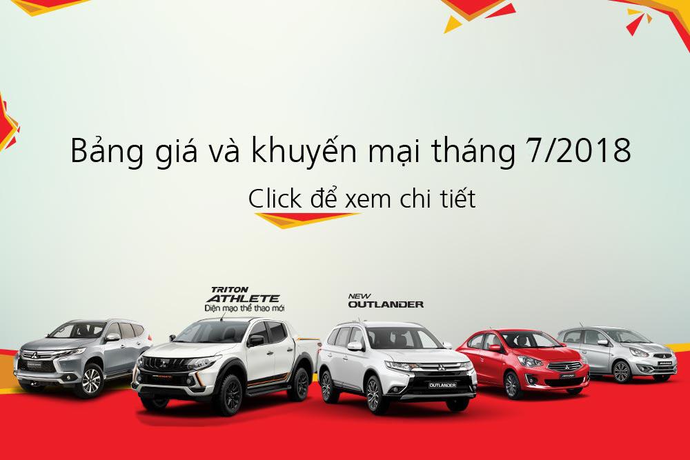 Bảng giá xe Mitsubishi tháng 07/2018