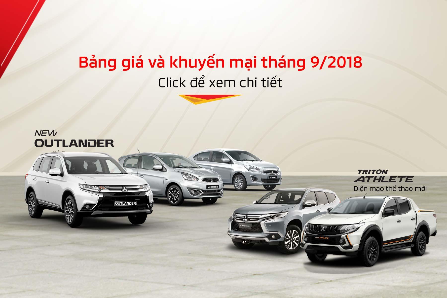 Bảng giá xe Mitsubishi tháng 09/2018